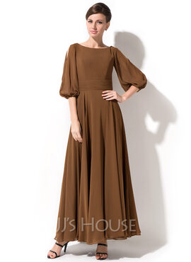 A-Line/Princess Scoop Neck Ankle-Length Chiffon Mother of the Bride Dress (267177677)