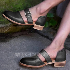 Women's PU Low Heel Sandals With Buckle shoes (085209684)