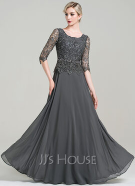 A-Line Scoop Neck Floor-Length Chiffon Mother of the Bride Dress With Beading Sequins (008085303)