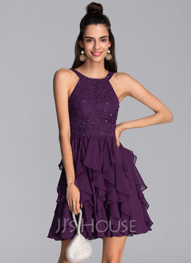 A-Line Scoop Neck Short/Mini Chiffon Homecoming Dress With Beading Sequins (022206537)