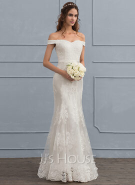 Trumpet/Mermaid Off-the-Shoulder Sweep Train Tulle Lace Wedding Dress With Sequins (002119801)