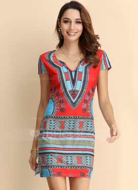 Polyester With Print Above Knee Dress (199165885)