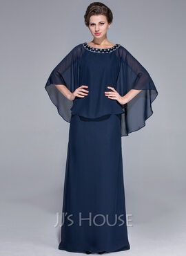 Sheath/Column Scoop Neck Floor-Length Chiffon Mother of the Bride Dress With Beading (267177675)