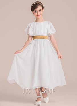 A-Line/Princess Tea-length Flower Girl Dress - Chiffon/Charmeuse Short Sleeves Scoop Neck With Sash