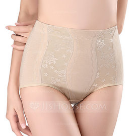 Women Sexy Cotton Breathability High Waist Panties With Jacquard Shapewear (125185824)