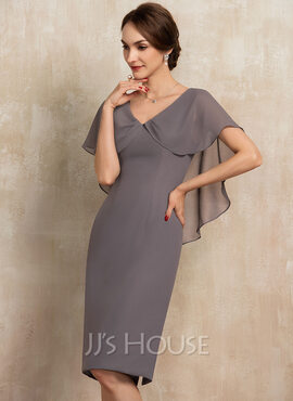 Sheath/Column V-neck Knee-Length Chiffon Mother of the Bride Dress With Ruffle (008217297)