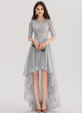 A-Line Scoop Neck Asymmetrical Tulle Lace Prom Dresses (018138566)