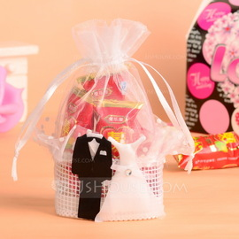 Bride & Groom Basket Favor Bags With Ribbons (Set of 12) (050054574)