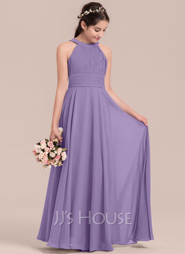 A-Line Scoop Neck Floor-Length Chiffon Junior Bridesmaid Dress With Ruffle (009130653)