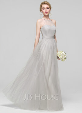 A-Line/Princess Scoop Neck Floor-Length Tulle Bridesmaid Dress With Ruffle Bow(s)
