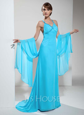 A-Line V-neck Sweep Train Chiffon Holiday Dress With Ruffle Beading
