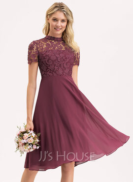 A-Line Scoop Neck Knee-Length Chiffon Lace Bridesmaid Dress (007206473)