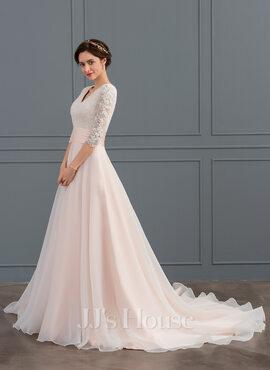 Corte de baile Escote en V Cola corte Organdí Vestido de novia con Volantes (002127246)