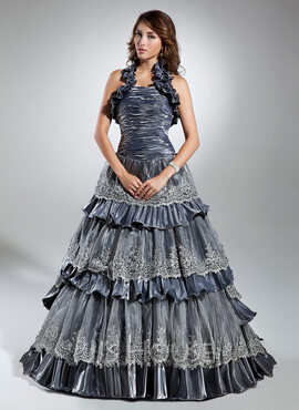 Ball-Gown Halter Sweep Train Taffeta Quinceanera Dress With Lace Cascading Ruffles (021015351)