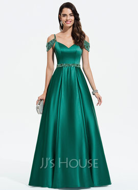 Ball-Gown/Princess V-neck Floor-Length Satin Prom Dresses With Beading Sequins (018175918)