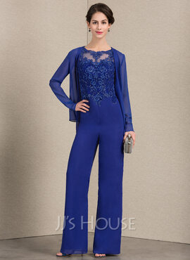 A-Line Scoop Neck Floor-Length Chiffon Lace Mother of the Bride Dress (008143363)