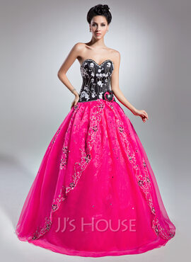Ball-Gown Sweetheart Floor-Length Organza Quinceanera Dress With Beading Appliques Lace Flower(s) Sequins (021015139)