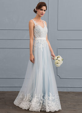 A-Line V-neck Floor-Length Tulle Lace Wedding Dress With Beading Sequins (002119807)