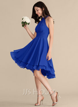 A-Line Scoop Neck Asymmetrical Chiffon Bridesmaid Dress (007153318)