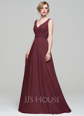 A-Line V-neck Floor-Length Chiffon Bridesmaid Dress With Ruffle Lace Beading Sequins (007074167)