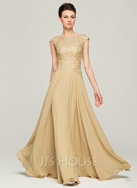 A-Line/Princess Scoop Neck Floor-Length Chiffon Evening Dress With Beading Sequins (017092340)