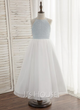 A-Line/Princess Ankle-length Flower Girl Dress - Chiffon/Tulle Sleeveless Halter With Pleated (010148819)