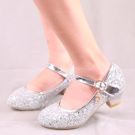 Girl's Round Toe Closed Toe Leatherette Sparkling Glitter Low Heel Flats Flower Girl Shoes With Buckle (207185198)