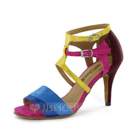 Women's Leatherette Heels Sandals Latin With Buckle Dance Shoes (053051797)