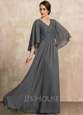 A-Line V-neck Floor-Length Chiffon Lace Mother of the Bride Dress With Sequins (008217294)