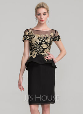 Sheath/Column Scoop Neck Knee-Length Chiffon Cocktail Dress With Lace Cascading Ruffles (016174105)