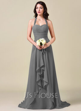 A-Line Halter Sweep Train Chiffon Bridesmaid Dress With Bow(s) Cascading Ruffles (007063008)