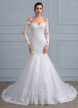 Trumpet/Mermaid Off-the-Shoulder Chapel Train Tulle Lace Wedding Dress With Beading Sequins (002111938)
