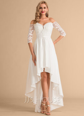 A-Line Off-the-Shoulder Asymmetrical Satin Lace Wedding Dress (002215650)
