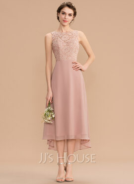 A-Line Scoop Neck Asymmetrical Chiffon Lace Bridesmaid Dress (007176773)