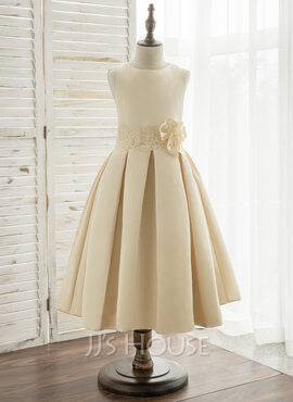 A-Line Tea-length Flower Girl Dress - Satin/Lace Sleeveless Scoop Neck With Flower(s) (010164737)