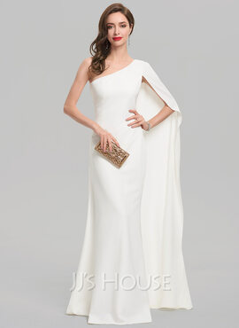 Sheath/Column One-Shoulder Floor-Length Stretch Crepe Wedding Dress (002207425)