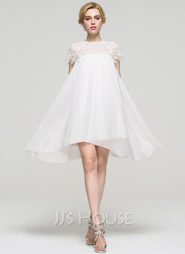 A-Line/Princess Scoop Neck Knee-Length Chiffon Homecoming Dress (022089921)