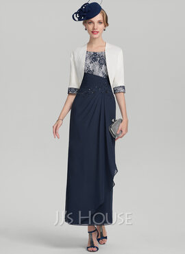 Sheath/Column Scoop Neck Ankle-Length Chiffon Lace Mother of the Bride Dress With Beading Sequins Cascading Ruffles (008131939)