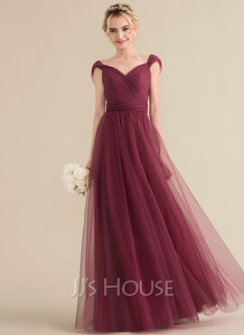 A-Line/Princess Sweetheart Floor-Length Tulle Bridesmaid Dress With Ruffle Bow(s) (007144729)