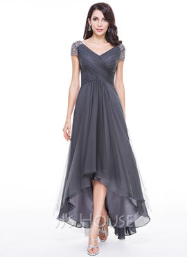 A-Line V-neck Asymmetrical Tulle Mother of the Bride Dress With Ruffle Beading Sequins (008131615)