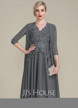 A-Line V-neck Knee-Length Mother of the Bride Dress With Beading (008107648)