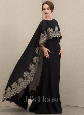 A-Line Scoop Neck Floor-Length Chiffon Lace Evening Dress (017221879)