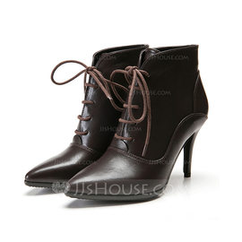 Women's Leatherette Stiletto Heel Platform Ankle Boots With Braided Strap Split Joint shoes (088098049)