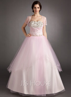 Ball-Gown Strapless Floor-Length Tulle Quinceanera Dress With Ruffle Beading Sequins (021016395)