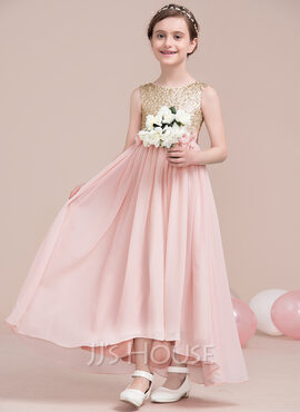 A-Line Asymmetrical Flower Girl Dress - Chiffon/Sequined Sleeveless Scoop Neck With Flower(s)/Sequins/Bow(s) (010115809)