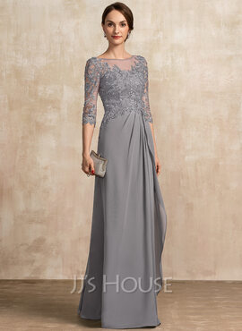 A-Line Scoop Neck Floor-Length Chiffon Lace Mother of the Bride Dress With Beading Sequins Cascading Ruffles (008217326)