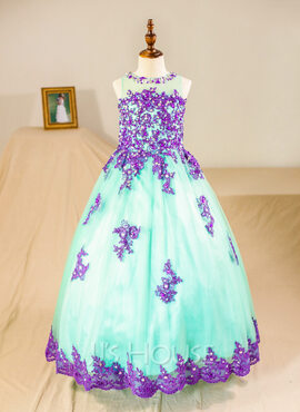 Ball Gown Floor-length Flower Girl Dress - Tulle Sleeveless Scoop Neck With Beading/Appliques (Petticoat NOT included) (010094136)
