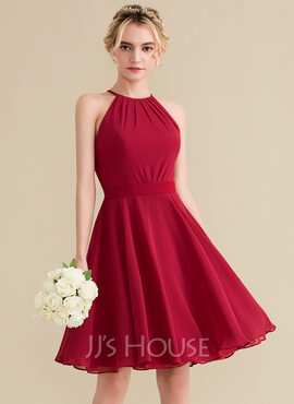 A-Line Scoop Neck Knee-Length Chiffon Homecoming Dress With Ruffle Bow(s) (022165786)