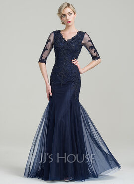 Trumpet/Mermaid V-neck Floor-Length Tulle Evening Dress With Beading Appliques Lace Sequins (017092356)