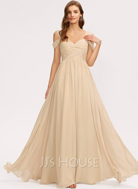 A-Line V-neck Floor-Length Chiffon Bridesmaid Dress With Ruffle (007221205)